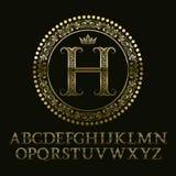 Blom- mönstrade guld- bokstäver med H-initial märker royaltyfri illustrationer