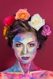 Blom- makeup Arkivfoto