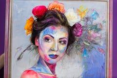 Blom- makeup Fotografering för Bildbyråer