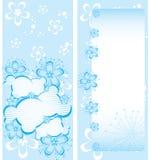 blom- mall för blå broschyr Stock Illustrationer