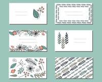 Blom- mallar med gulliga grupper av klotterblommor stock illustrationer