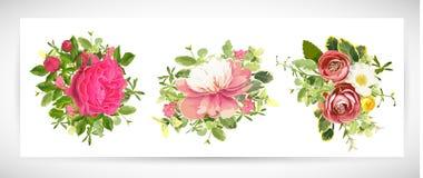 Blom- malldesignbukett också vektor för coreldrawillustration Royaltyfri Fotografi