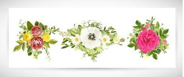 Blom- malldesignbukett också vektor för coreldrawillustration Arkivbild