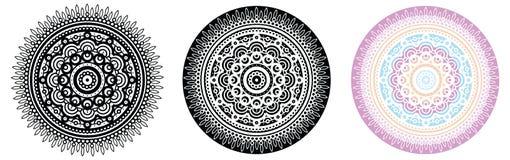 Blom- mandala för färgläggningbok och din design mönstrad runt Royaltyfri Bild