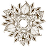 Blom- mandala för vektor i indisk stil Mehndi dekorativ blomma Hand dragen etnisk modell Arkivfoton