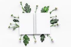 Blom- modell Anteckningsbok bland knoppar och sidor på bästa sikt för vit bakgrund Arkivbild