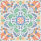 Blom- modell för broderi, dekorativ prydnad för textil, kudde eller bandanadekor Bohemisk handgjord stilbakgrund vektor illustrationer