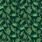 Blom- modell för härlig sömlös vektorgräsplanlönnlöv på svart bakgrund stock illustrationer