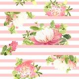 Blom- modell för sömlös randig stil också vektor för coreldrawillustration Royaltyfria Bilder