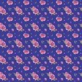 Blom- modell för sömlös utdragen tappningvattenfärg för hand med rosa rosor royaltyfri illustrationer