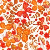 Blom- modell för sömlös vår med jordgubbar och blommor och fjärilar & x28; vektor EPS 10& x29; Fotografering för Bildbyråer