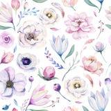 Blom- modell för sömlös vattenfärg för vår lilic på en vit bakgrund Rosa färger och steg blommor, weddindgarnering stock illustrationer