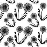 Blom- modell för sömlös vektor med blommor Gullig hand dragen svartvit bakgrund med maskrosor stock illustrationer