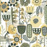 Blom- modell för sömlös vektor med guling- & gräsplanskuggor av färger royaltyfri illustrationer