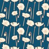 Blom- modell för sömlösa tappningblått med vallmo Arkivbild