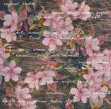 Blom- modell för tappning - blommor, wood textur, räcker skriftliga bokstäver Fotografering för Bildbyråer