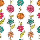 Blom- modell för vektor i klotterstil med blommor och sidor stock illustrationer