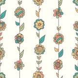 Blom- modell för vektor i klotterstil med blommor och sidor royaltyfri illustrationer