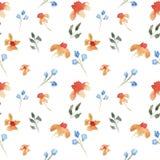 Blom- modell f?r s?ml?s vattenf?rg f?r hand utdragen h?rlig med orange och purpurf?rgade blommor stock illustrationer