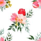 Blom- modell f?r vattenf?rg stock illustrationer