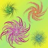 blom- modell fyra stock illustrationer
