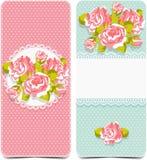 Blom- modell med rosor på rosa färg- och blåttbakgrund royaltyfri illustrationer