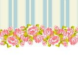 Blom- modell med rosor på rosa färg- och blåttbakgrund stock illustrationer