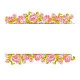 Blom- modell med rosor på rosa och vit bakgrund stock illustrationer