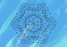 Blom- modell på en skuggad blå bakgrund royaltyfri illustrationer