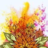 Blom- modell på vattenfärgmålning Royaltyfria Bilder