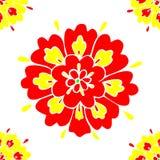 Blom- modell som är sömlös med den röda och gula kronbladvektorn vektor illustrationer