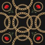 Blom- modellbakgrund för sömlös vektor med den utdragna kedjan för hand royaltyfri illustrationer