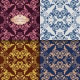 Blom- modeller för tappning Sömlös textur för tapeten, textil som förpackar Guld- damast prydnad Fläta samman blommor och sidor vektor illustrationer