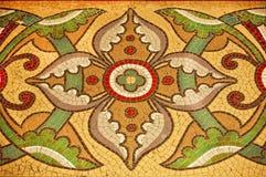 Blom- modeller på färgrik mosaik Royaltyfri Fotografi