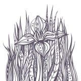 blom- modernt för abstrakt klotter stock illustrationer