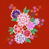 Blom- motiv för dekorativ kimono på röd bakgrund royaltyfri illustrationer