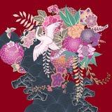 Blom- motiv för tappningkimono royaltyfri illustrationer