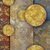 Blom- motiv, habby guld- bakgrund för mosaik Arkivfoto