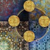 Blom- motiv, habby guld- bakgrund för mosaik Arkivbild