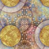 Blom- motiv, habby guld- bakgrund för mosaik Royaltyfri Foto