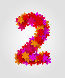 Blom- nummer färgrika blommor Nummer 2 Royaltyfria Foton