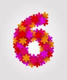 Blom- nummer färgrika blommor Nummer 6 Arkivfoton