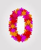 Blom- nummer färgrika blommor Nummer 0 Arkivfoton