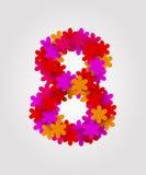 Blom- nummer färgrika blommor Nummer 8 Arkivfoton