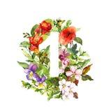 Blom- nummer för tappning ett - 1 från blommor vattenfärg stock illustrationer