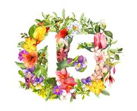 Blom- nummer 15 femton från blommor Vattenfärg för rabattklistermärke vektor illustrationer