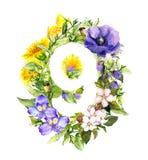 Blom- nummer 9 - nio från sommar, vårblommor och gräs vattenfärg royaltyfri illustrationer
