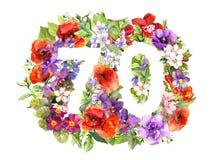 Blom- nummer 70 sjuttio från lösa blommor och änggräs r stock illustrationer