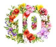 Blom- nummer 10 tio från ljusa blommor, sommarväxter Tappningvattenfärg för moderabattdesign stock illustrationer