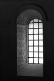 Blom- och geometriska modeller skulpterades på intradosen av ett fönster i kyrkan Germigny-des-Pres (Frankrike) Royaltyfri Bild